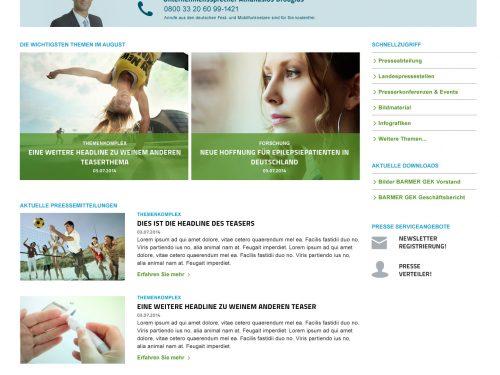 Stylepatrol.com Portfolio | Gestaltung des Presseportal für BARMER GEK | Beispiel Screen 1